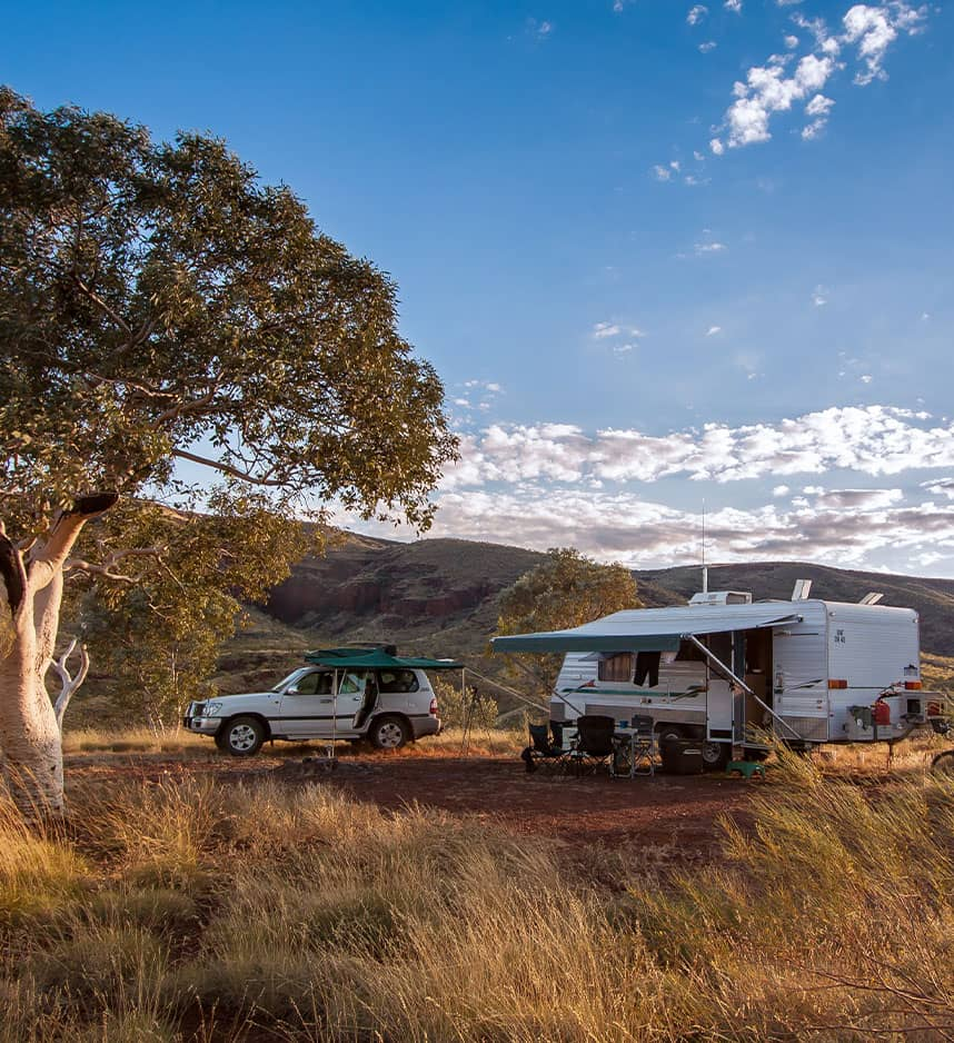 caravan and car in australia outback