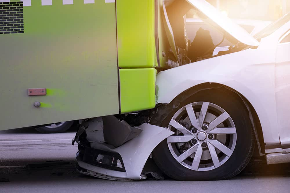 car crash with bus